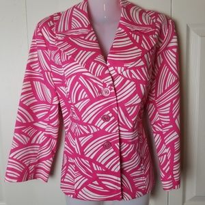 Rafaella Jacket Size Medium Pink White Career